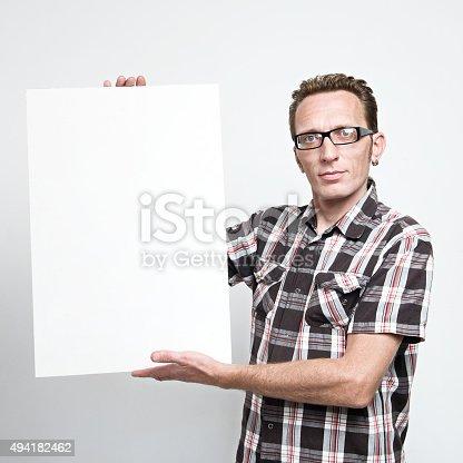 istock Man displaying a white board 494182462