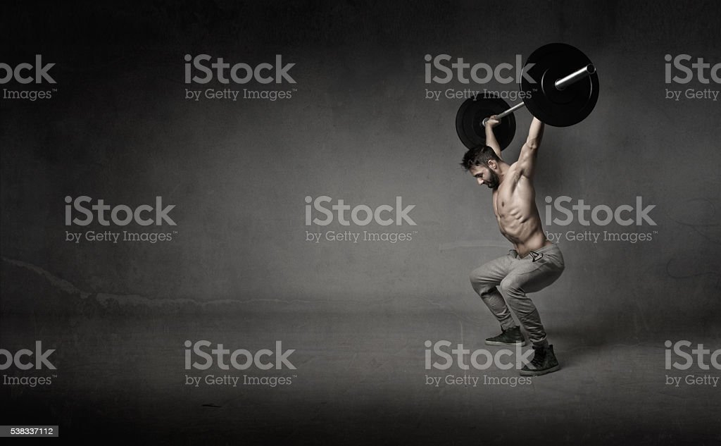 man do crosslifting stock photo