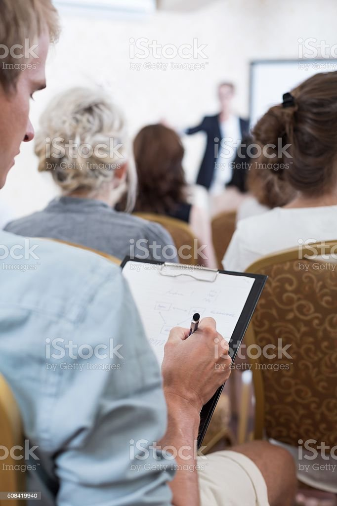 Man does not listen stock photo