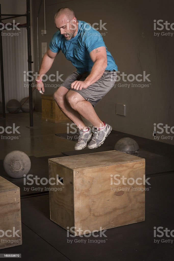 Man Doing Box Jump royalty-free stock photo