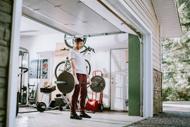 Man Doing Exercise Workout in Garage