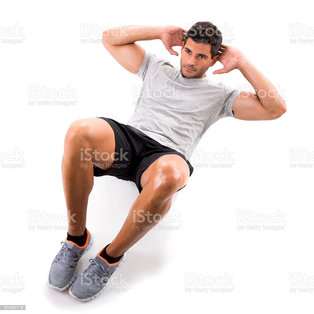 Man doing exercises stock photo