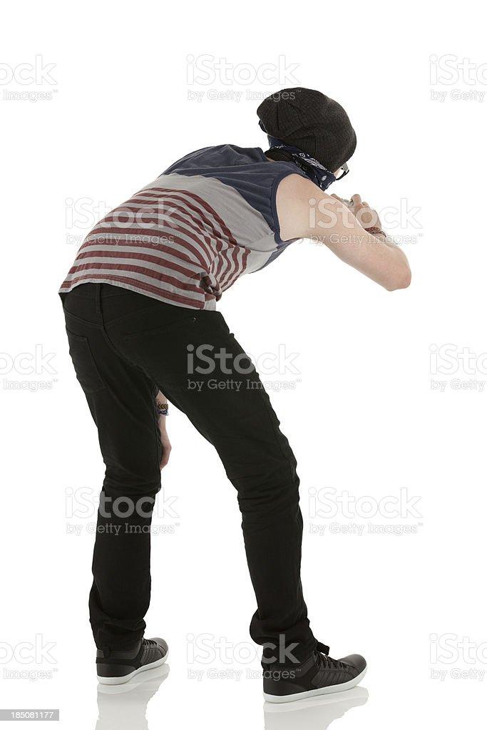 Man doing graffiti stock photo