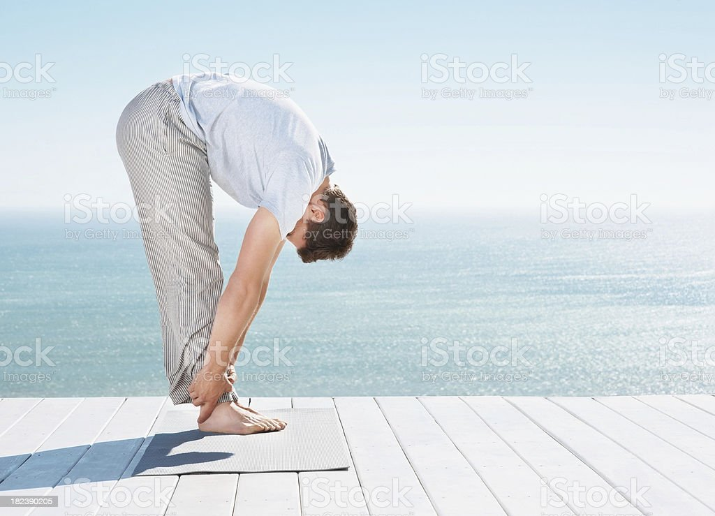 Man doing his morning exercise outdoors royalty-free stock photo