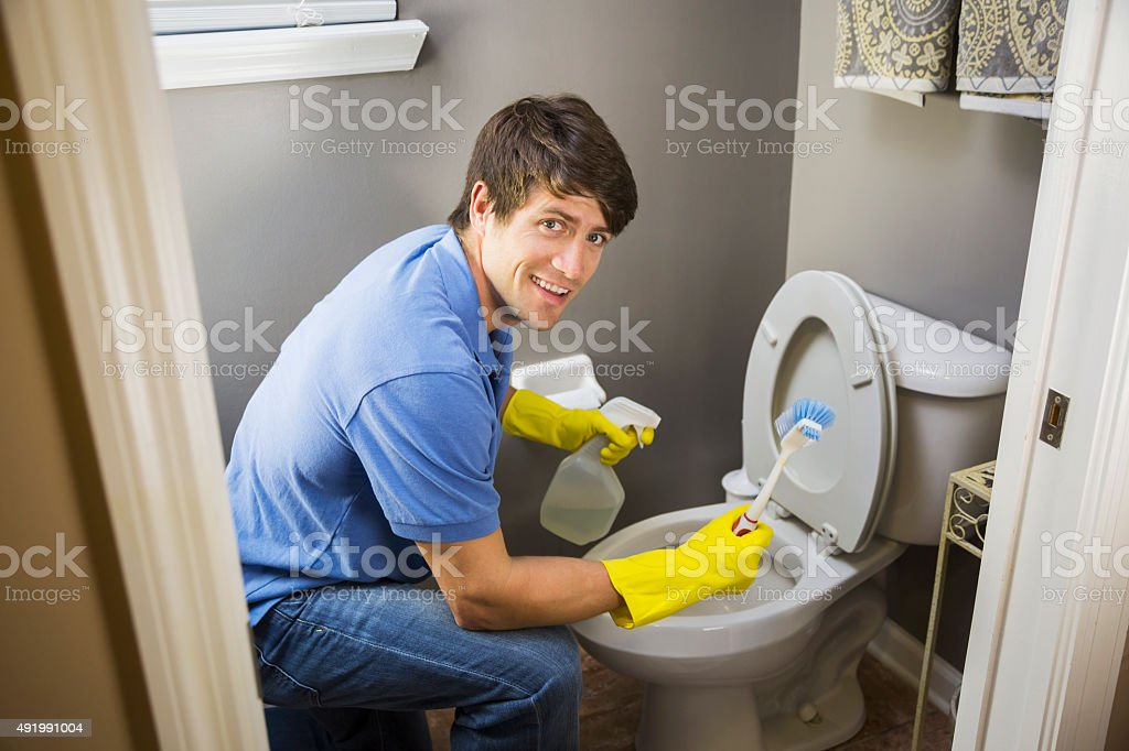 Man Doing Housework Cleaning Bathroom Toilet Stock Photo Download Image Now Istock