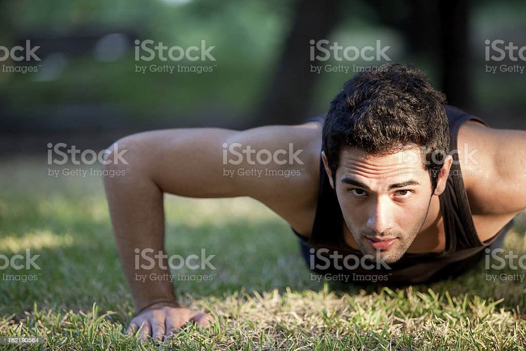 Man doing pushups royalty-free stock photo