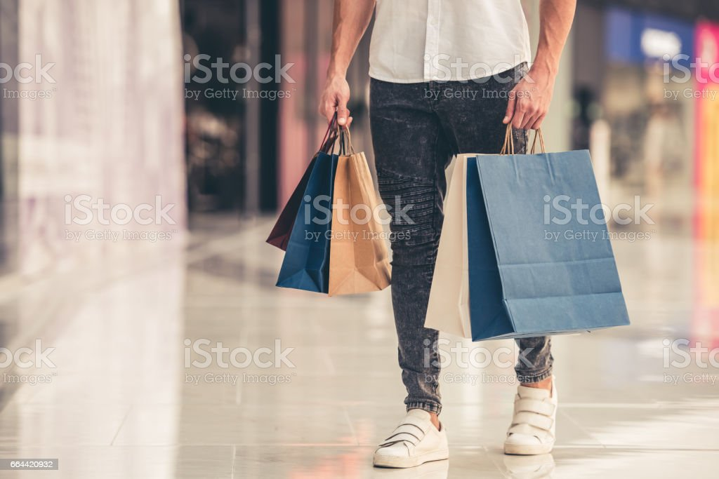 Man doing shopping stock photo