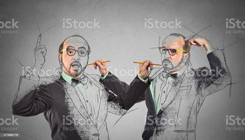 man drawing a picture, sketch of himself stock photo