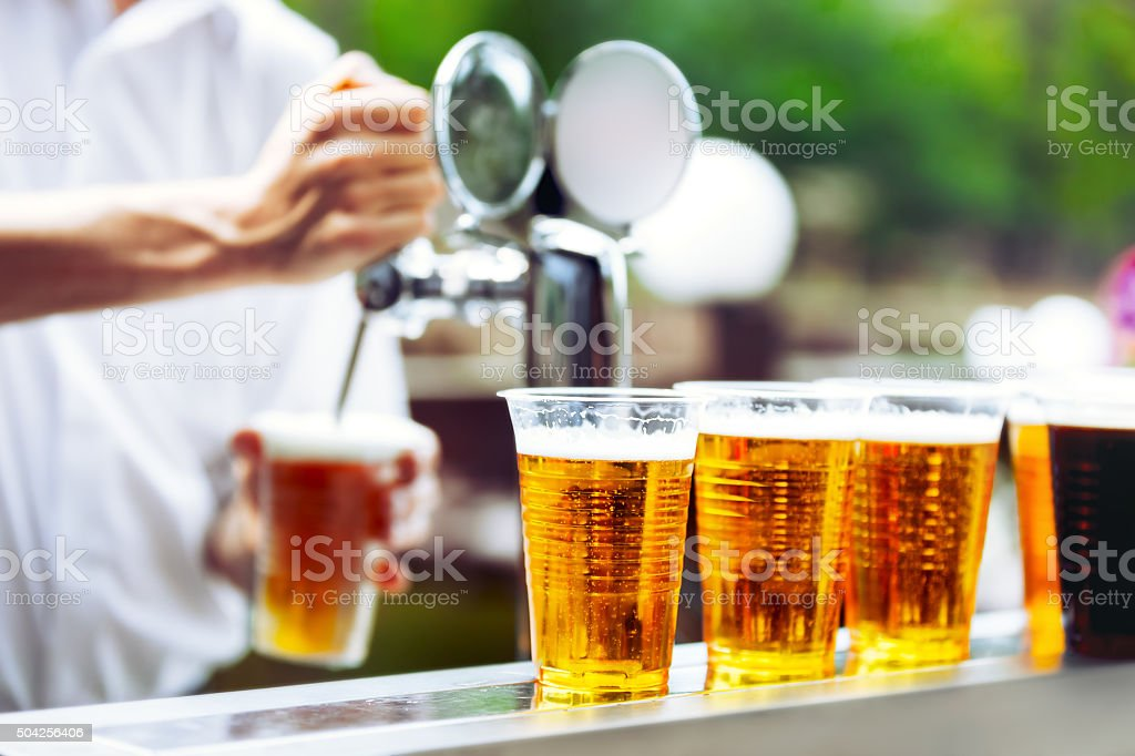Man drawing beer stock photo