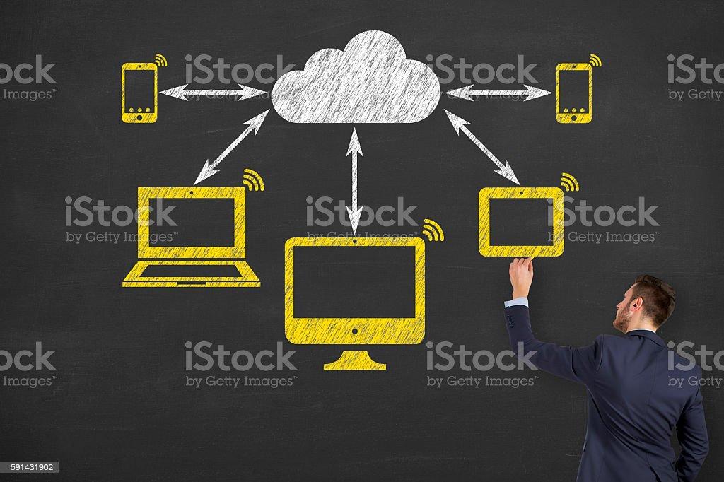 Man Drawing Cloud Computing Concept stock photo