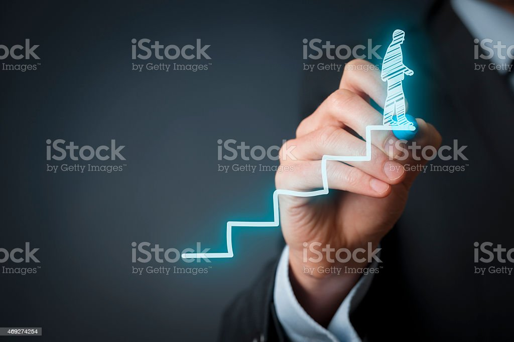 Man drawing digital illustration of a man on the stairs stock photo