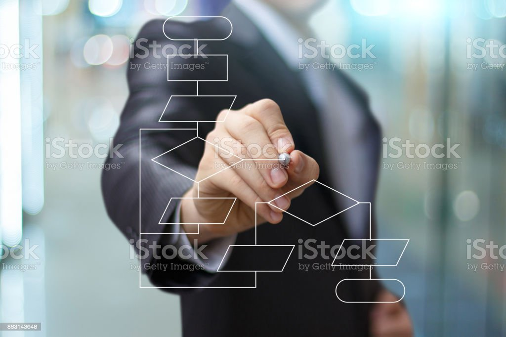 Man drawing flowchart. stock photo