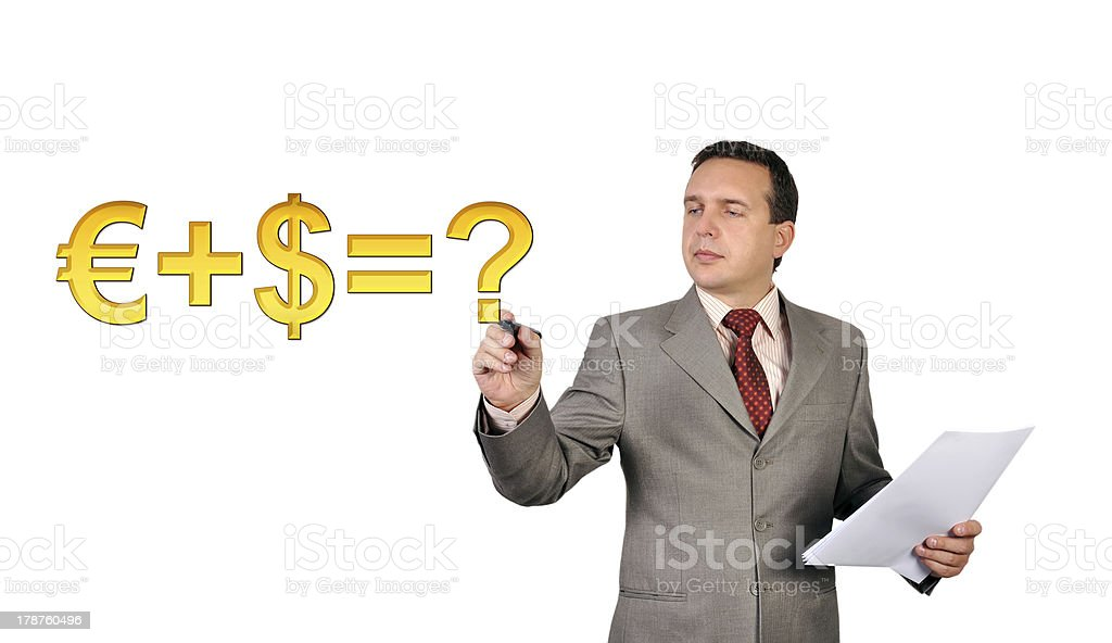 man drawing formula royalty-free stock photo