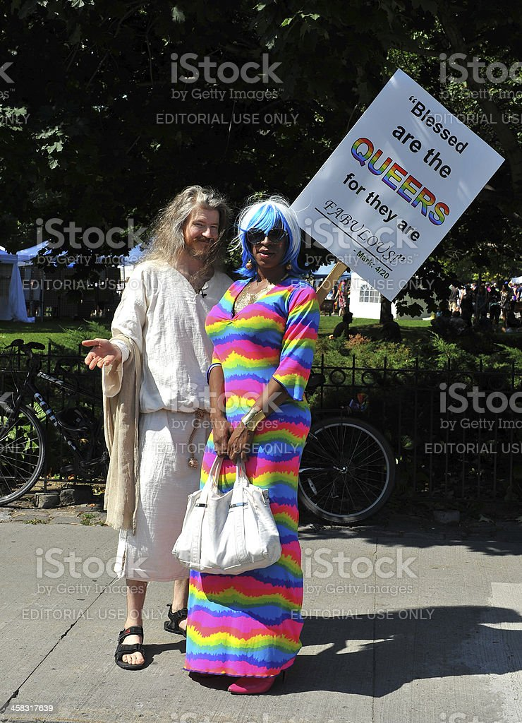 Man dressed as Jesus at Pride Parade royalty-free stock photo