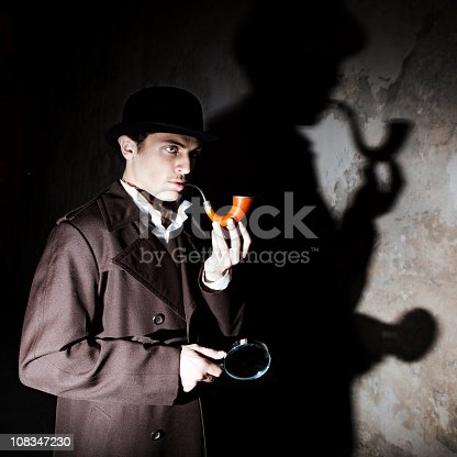 Man dressed up as famous detective Sherlock Holmes outdoors.  Note: All props in this shoot including pipe are authentic vintage items. Slight light trails and motion blur on arms. Grain Added. [url=file_closeup.php?id=13571687][img]file_thumbview_approve.php?size=1&id=13571687[/img][/url] [url=file_closeup.php?id=13548314][img]file_thumbview_approve.php?size=1&id=13548314[/img][/url] [url=file_closeup.php?id=13548292][img]file_thumbview_approve.php?size=1&id=13548292[/img][/url] [url=file_closeup.php?id=13548271][img]file_thumbview_approve.php?size=1&id=13548271[/img][/url] [url=file_closeup.php?id=13548249][img]file_thumbview_approve.php?size=1&id=13548249[/img][/url] [url=file_closeup.php?id=13548231][img]file_thumbview_approve.php?size=1&id=13548231[/img][/url] [url=file_closeup.php?id=13894179][img]file_thumbview_approve.php?size=1&id=13894179[/img][/url] [url=file_closeup.php?id=13894166][img]file_thumbview_approve.php?size=1&id=13894166[/img][/url]