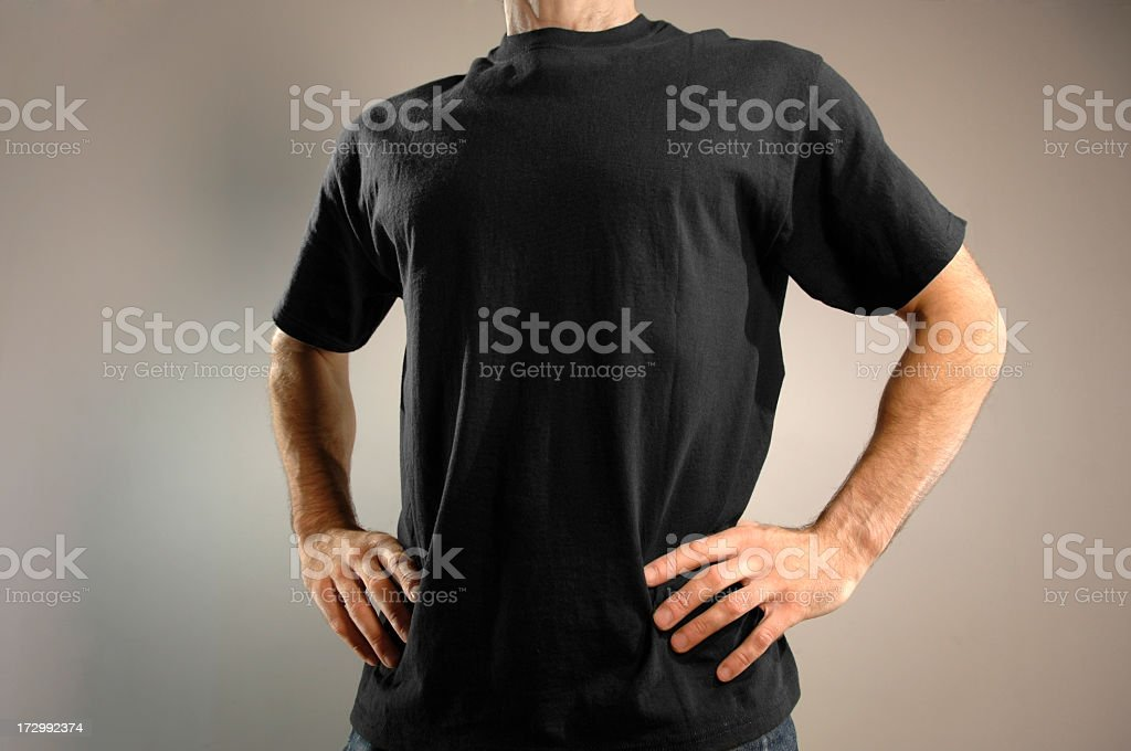 Man Dressed in Black T Shirt stock photo