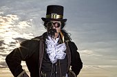 istock man dressed in vintage steampunk clothing with sunset background 478060870