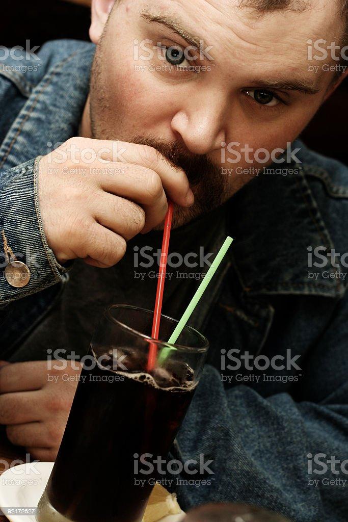 Man Drinking Iced Tea royalty-free stock photo