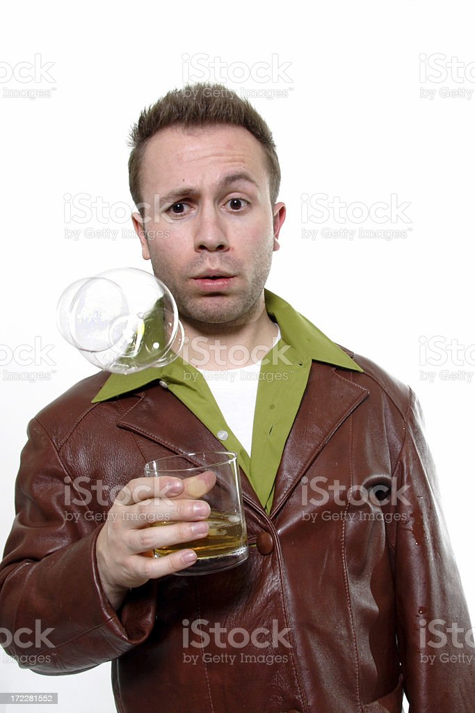 man drinking seeing bubbles in pleather jacket stock photo