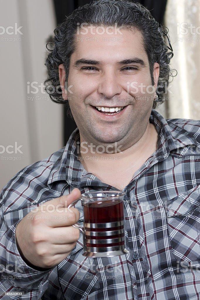 man drinking tea at home royalty-free stock photo