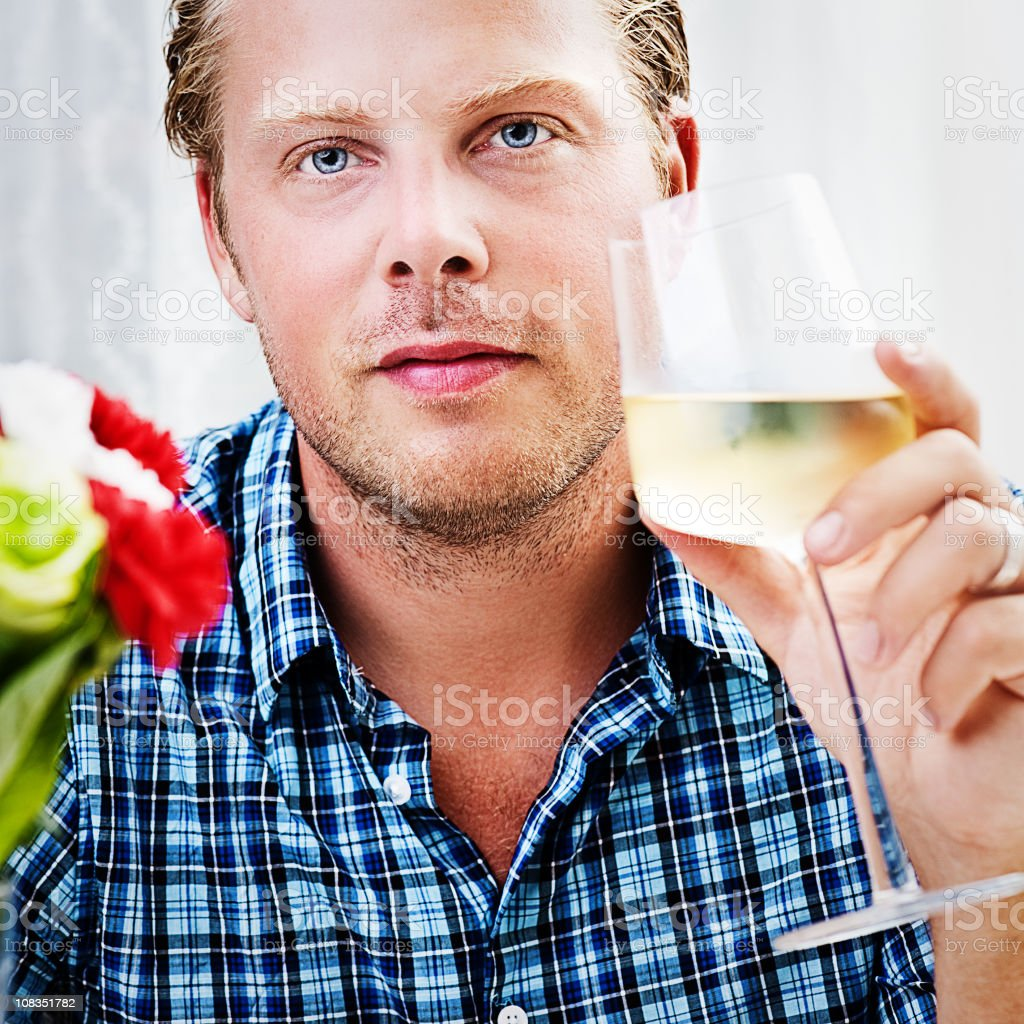 Man drinking white wine royalty-free stock photo