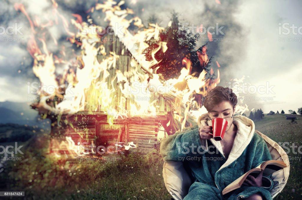 Man drinks coffee stock photo