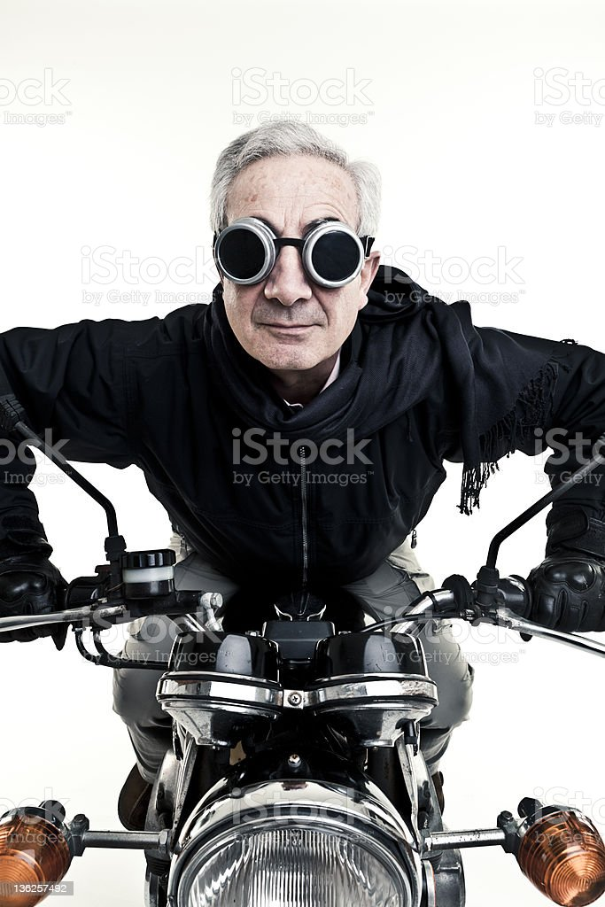 man drive his motorcycle with glasses stock photo