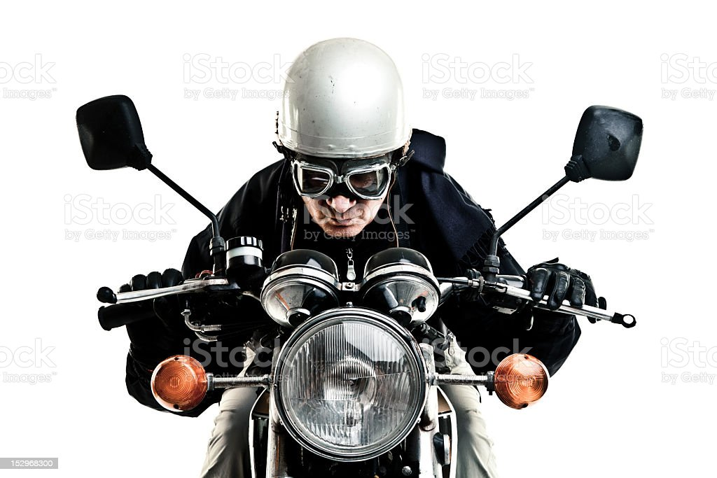 man drive his motorcycle with helmet and glasses royalty-free stock photo