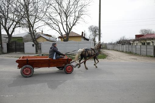 Sintesti, Romania - April 2, 2021: Man drives a horse drawn cart on a public road.