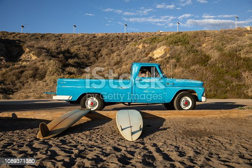 Man driving a pick-up in California