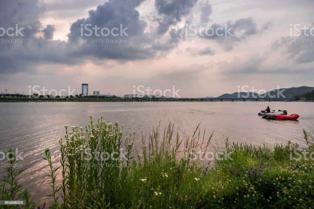 man driving boat on river in dramtic cloudy day. intended selective focused and add noise image. royalty-free stock photo