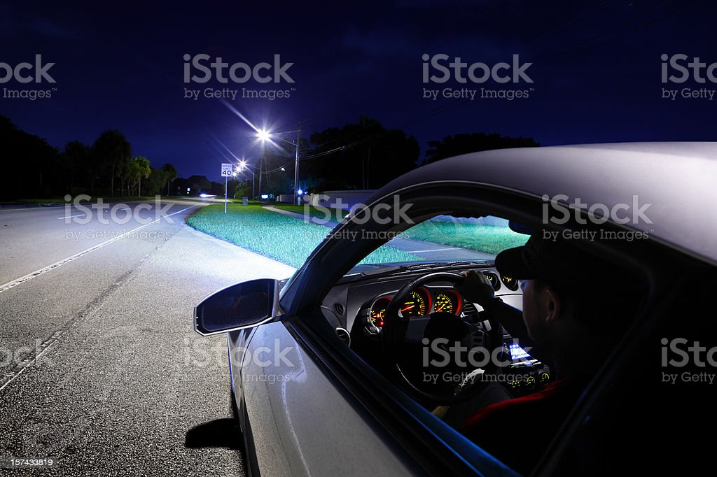 Man Driving Car Exterior View stock photo