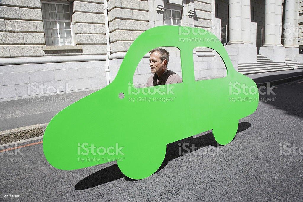 Mężczyzna jazdy samochodu Szkic na miejski transport drogowy; zbiór zdjęć royalty-free