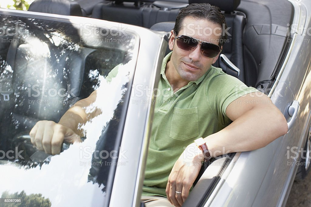 Człowiek jazdy samochodem Kabriolet zbiór zdjęć royalty-free