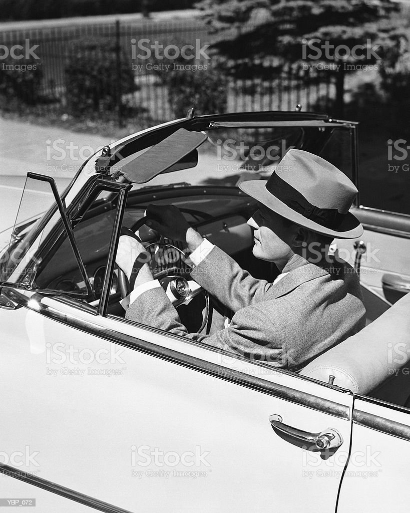 Man driving convertible royalty-free stock photo