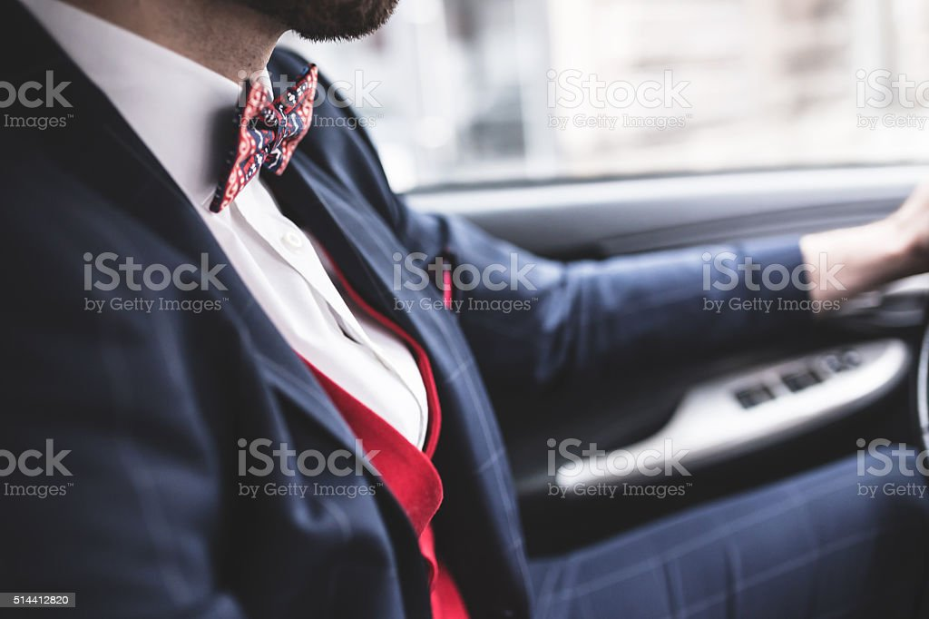 Man driving his car stock photo