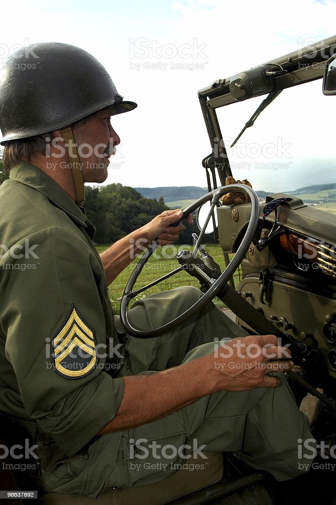 Man driving jeep royalty-free stock photo