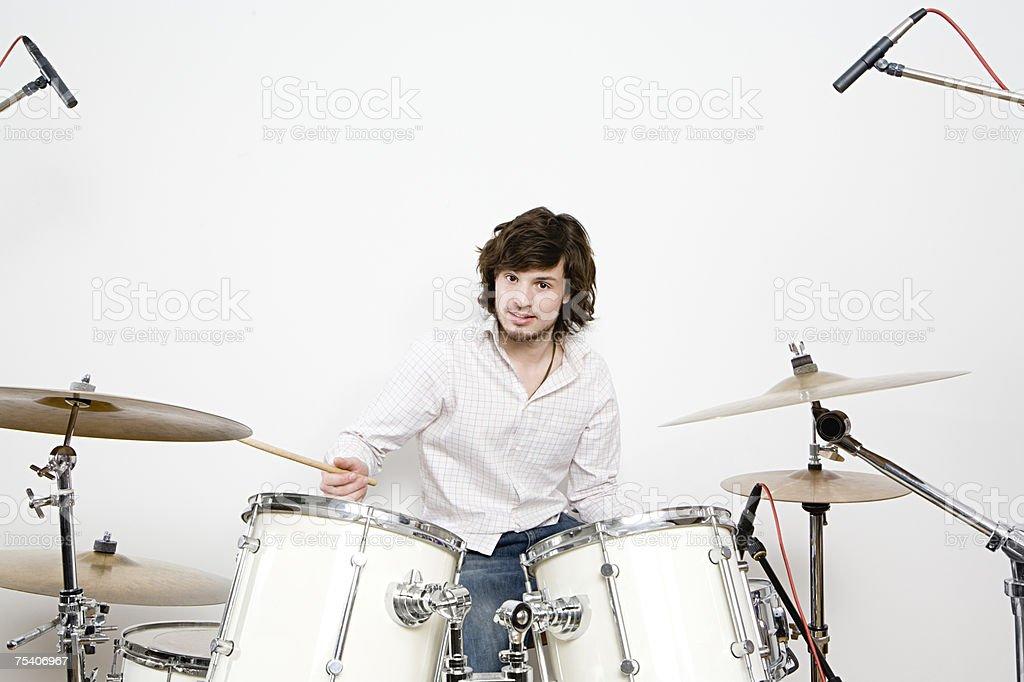 A man drumming foto de stock royalty-free