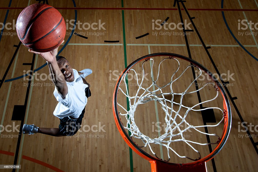 Man Dunking a Baskteball stock photo