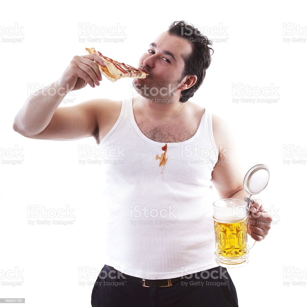 Fat guy eating pizza