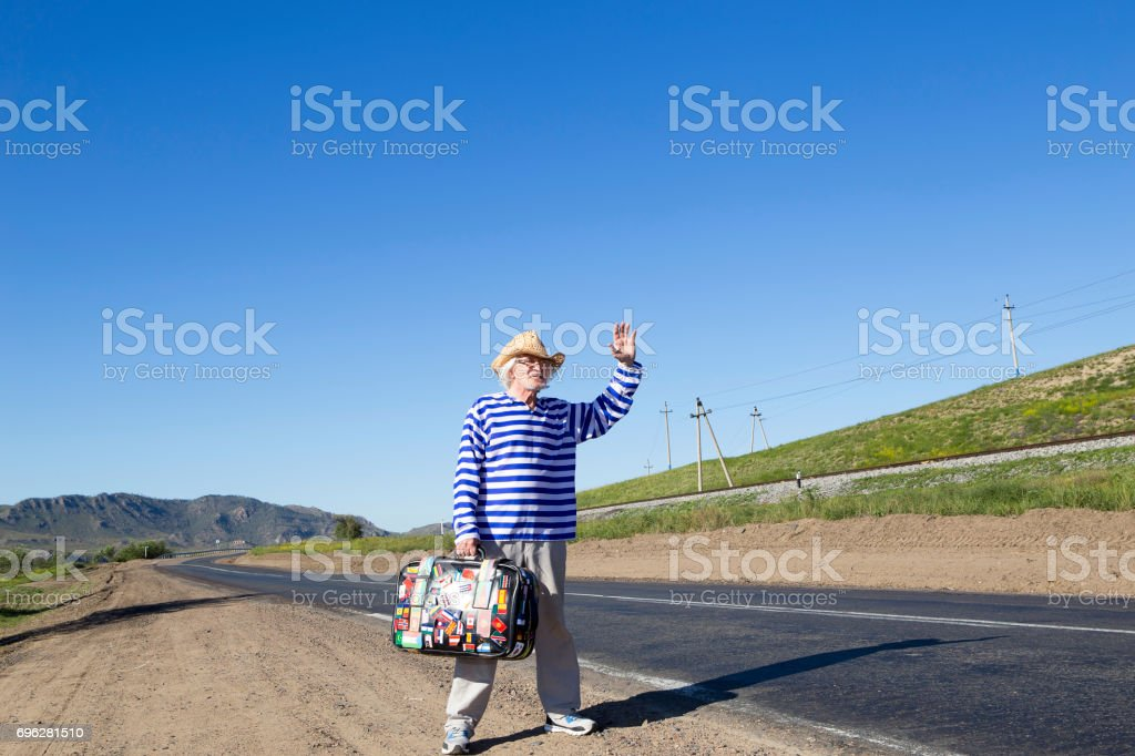 Man elderly on the track stock photo