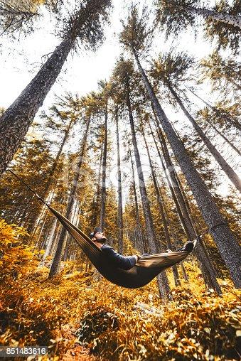 man enjoy in the hammock