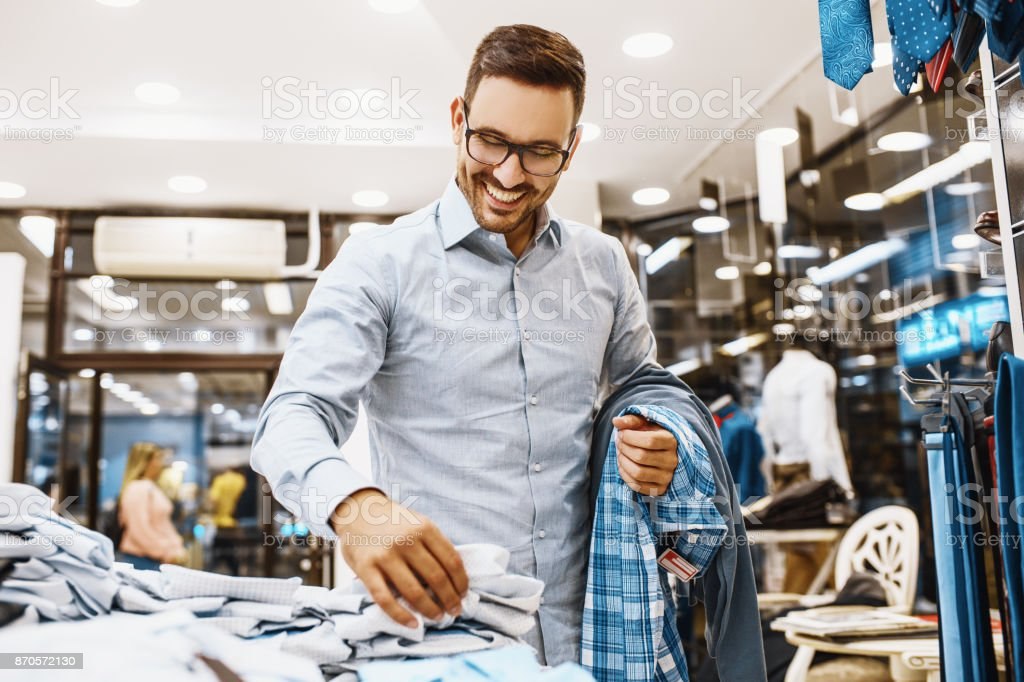 Man enjoyig shopping stock photo