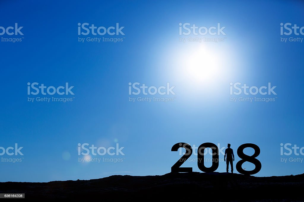 Man Enjoying and 2018 years while celebrating new year stock photo