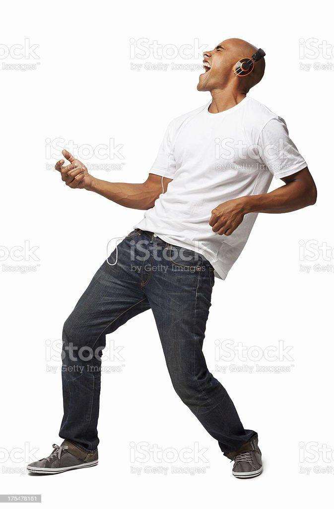 Man Enjoying Music - Isolated stock photo