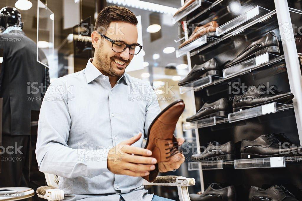 Man enjoying shopping stock photo