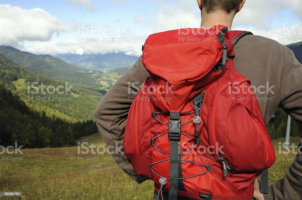 Man enjoying the landscape view from his hike royalty-free stock photo