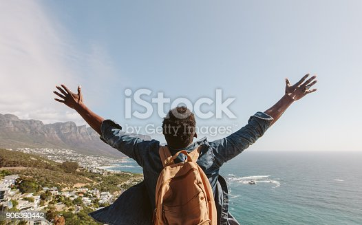 istock Man enjoying the view from top of mountain 906360442