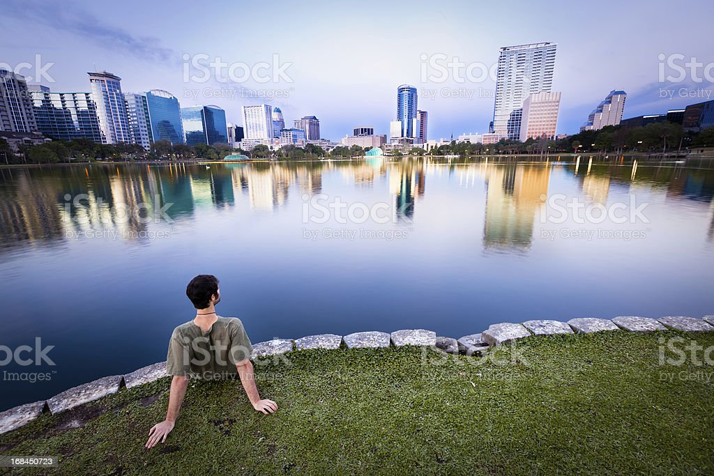 Man enjoying the view in Orlando royalty-free stock photo