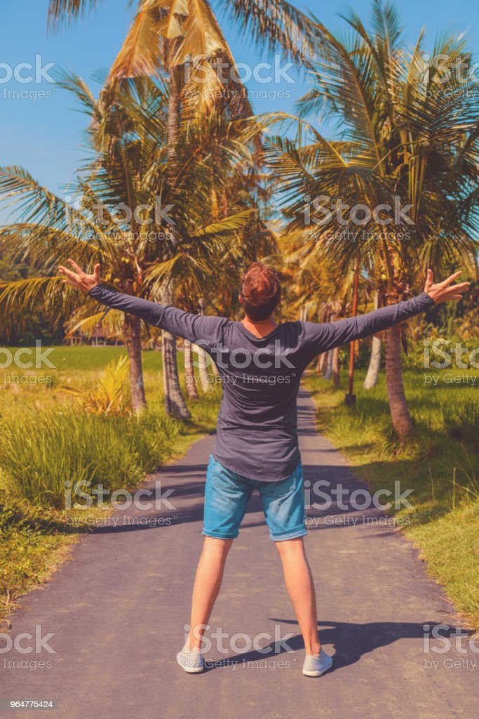 Man enjoying tropical climate with arms wide open. royalty-free stock photo
